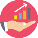 analytics, business plan, growth chart, hand, stats icon