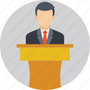 orator, presentation, speaker, speech, speech podium icon
