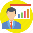 analytics, businessman, presentation, statistics, stats icon