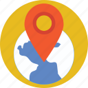 globe, gps, location pin, map, navigation icon