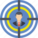 bullseye, crosshair, target, targeted customer, targeted person icon