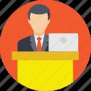 orator, presentation, presenter, speaker, speech icon