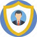 badge, employee card, employee insurance, protection, shield icon