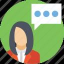 conversation, discussion, presentation, speech, talking icon