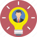 businessman, creative, idea, innovation, light bulb icon