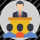 business presentation, lecture, presentation, speaker, speech icon