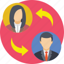 interchange, replacing employee, staff replacing, staff switching, substitute icon