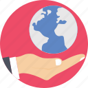 earth, globe, globe in hand, hand, world icon