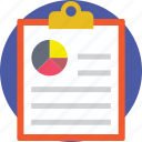 business document, business report, clipboard, pie chart, report icon