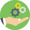 cogs, hand, management, manager, optimisation icon