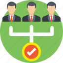 employees, hierarchy, selected candidates, team, team chart icon