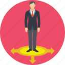 businessman, choice way, arrows, direction, opportunities