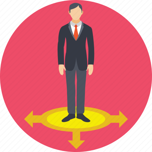 arrows, businessman, choice way, direction, opportunities icon
