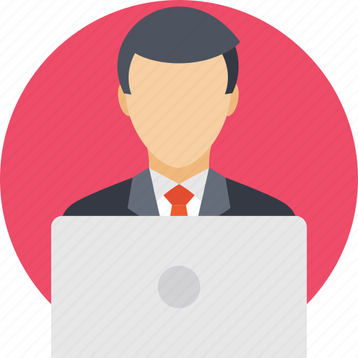 business, business person, businessman, computing, laptop icon