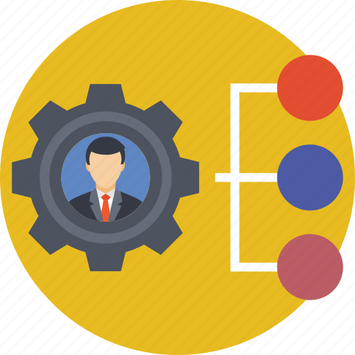 chart, cog, hierarchy, management, manager icon