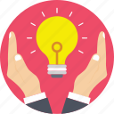 bright, creativity, hands, idea, light bulb icon