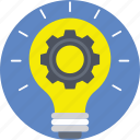 cog, creativity, idea, innovation, light bulb