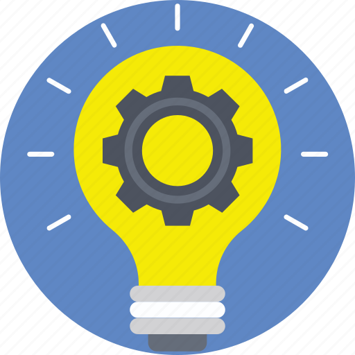 cog, creativity, idea, innovation, light bulb icon