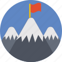 achievement, destination, flag, milestone, mountain