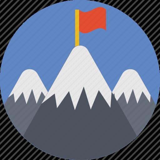 achievement, destination, flag, milestone, mountain icon