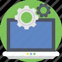 cogs, cogwheels, computer, gears, optimization icon