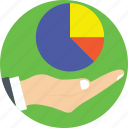 analytics, hand, pie chart, pie graph, stats icon
