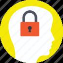 brainstorming, closed mind, dull mind, locked mind, secret icon