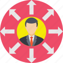 business opportunities, businessman, directions, multitasking, opportunities icon
