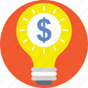 business idea, idea, innovation, light bulb, money icon
