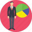 analytics, businessman, pie chart, presentation, statistics icon