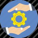 cog, cogwheel, hand, management, settings icon