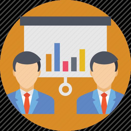 analytics, business presentation, chart, presentation, stats icon