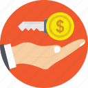 businessman, hand, holding, key to success, money icon