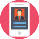 mobile, portfolio, profile, resume, social media icon