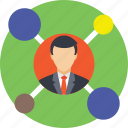 business connections, businessman connections, circle, liks, network icon