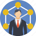 business connections, businessman connections, circle, liks, network