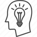 brainstorm, head, human, idea, lamp, light bulb, people icon