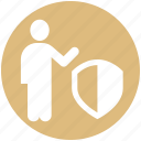 business man, human, people, person, security, shield, user icon