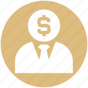 customer, dollar, finance, human, money, person, user icon