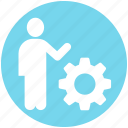 account, gear, human, man, person, setting, user icon