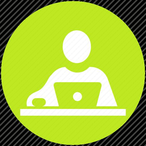 businessman, client, customer, human, laptop, user, worker icon