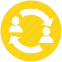 arrows, avatar, business, change, men, people, resources icon