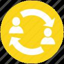 arrows, avatar, business, change, men, people, resources