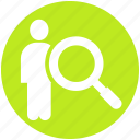human, magnifier, people, resource, resources, search, user icon