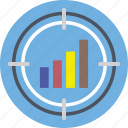 analytics, bullseye, crosshair, sales target, stats icon