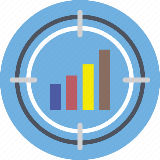 analytics, bullseye, crosshair, sales target, stats icon