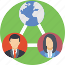 business team, connected, global, remote employees, remote team icon