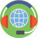 customer care, customer support, globe, headphone, support icon