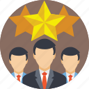 business team, ranking, rating, review, stars icon