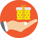 gift, gift box, hand, holding gift, present icon